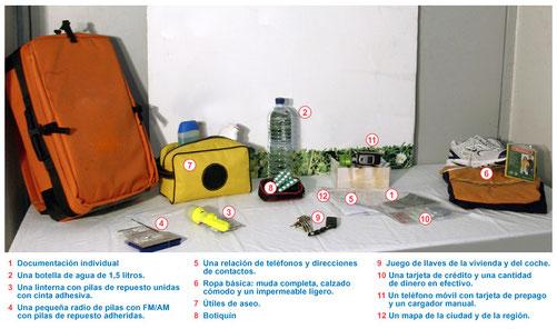 Mochila de Emergencia que recomienda el Ayuntamiento de Madrid